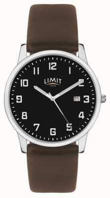 Limit | Mens Dark Brown Leather Strap | Black Dial | 5744.01