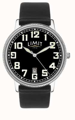 Limit | Men's Black Leather Strap | Black Dial | 5747.01