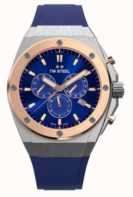 TW Steel CEO Tech | Chrono | Blue Dial | Blue Rubber Strap CE4046