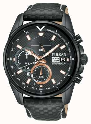 Pulsar | Accelerator Chronograph | Black Leather Strap | Black Dial PZ6033X1