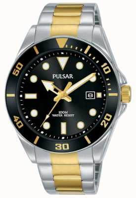 Pulsar | Casual Sport | Two Tone Bracelet | Black Dial | PG8295X1