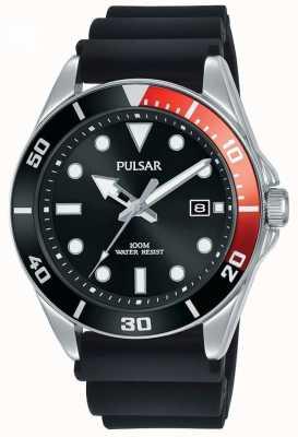 Pulsar | Casual Sport | Black Rubber Strap | Black Dial | PG8297X1