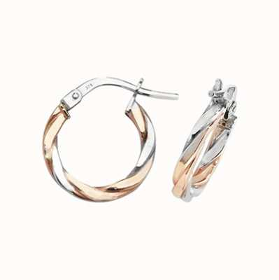 James Moore TH 9ct Rose and White Gold Hoop Earrings ER1041RW-10