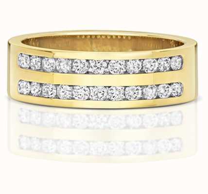 Treasure House 9k Yellow Gold Diamond Set Double Row Half Eternity Ring RD553