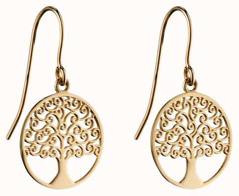 Elements Gold 9k Yellow Gold Tree Of Life Earrings GE2306