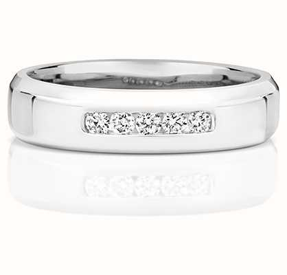 Treasure House 9k White Gold 5 Diamond Channel Set Band RD705W