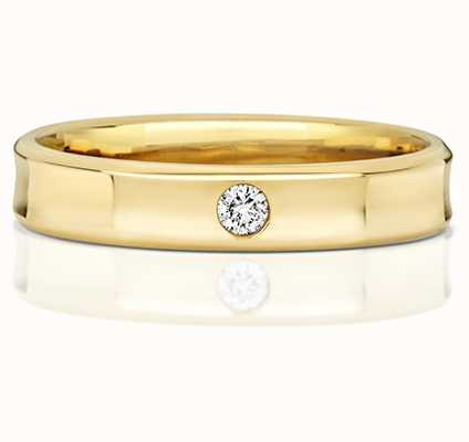 Treasure House 9k Yellow Gold Concave Single Diamond Ring RD712