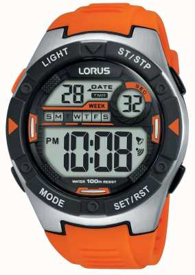 Lorus | Mens Sports Digital | Orange Rubber Strap | R2303NX9