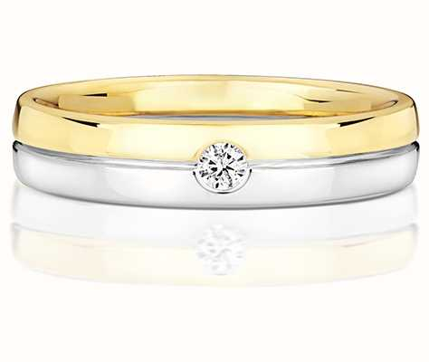 Treasure House 9k White And Yellow Gold Mens Single Diamond Ring RD723