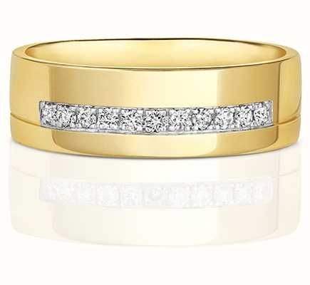 Treasure House 9k Yellow Gold Diamond Channel Groove Thick Band RD731