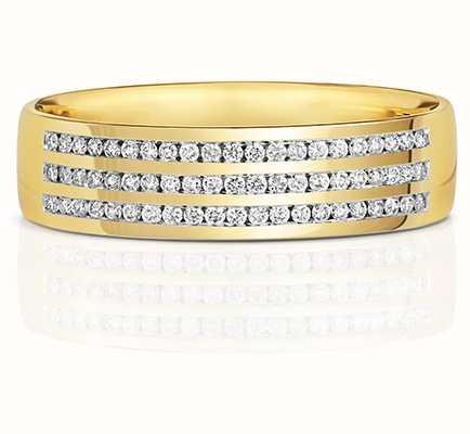 Treasure House 9k Yellow Gold 3 Row Diamond Set Ring RD733
