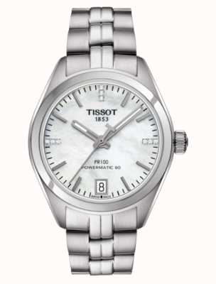 Tissot Womens PR 100 Powermatic 80 Stainless Steel Mother of Pearl T1012071111600
