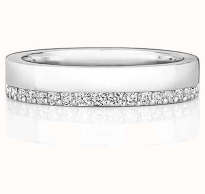Treasure House 9k White Gold Diamond Off Set Ring RD736W