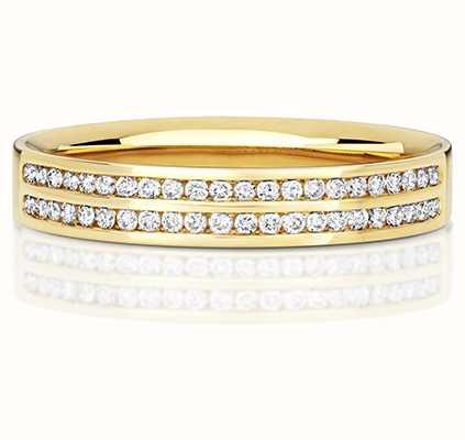 Treasure House 18k Yellow Gold Double Row Diamond Set Ring RDQ724