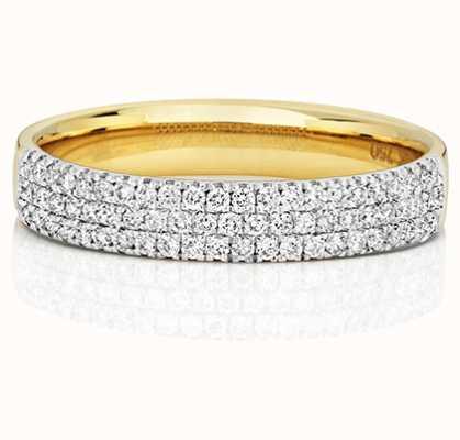 Treasure House 18k Yellow Gold 3 Row Diamond Ring RDQ730