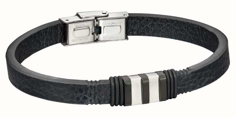 Fred Bennett MEN'S BLACK LEATHER BRACELET B5202