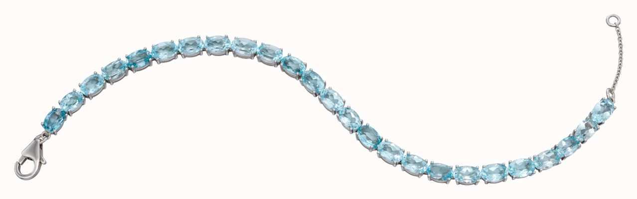Elements Gold 9k White Gold Blue Topaz Tennis Bracelet 17-19cm GB476T