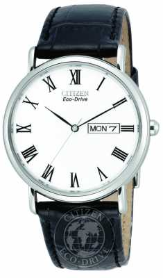 Citizen Mens White Dial Leather Strap Eco-Drive BM8240-11A
