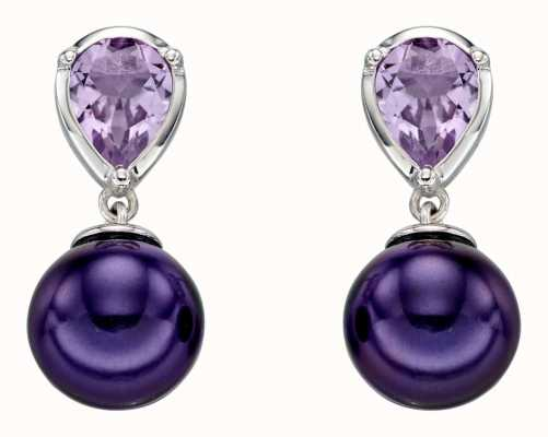 Elements Gold 9k White Gold Amethyst And Peacock Pearl Drop Earrings GE2291M