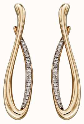 Elements Gold 9k Yellow Gold Infinity Diamond Earrings GE2296