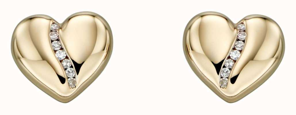 Elements Gold 9k Yellow Gold Diamond Channel Heart Stud Earrings GE2305