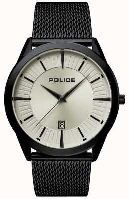 Police | Mens Patriot | Black Mesh Bracelet | Beige Dial | 15305JSB/79MM