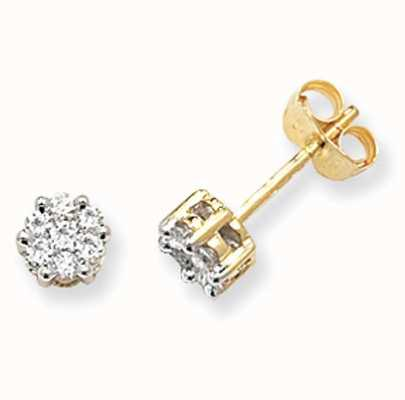 Treasure House 9k Yellow Gold Illusion Set Diamond Stud Earrings ED110