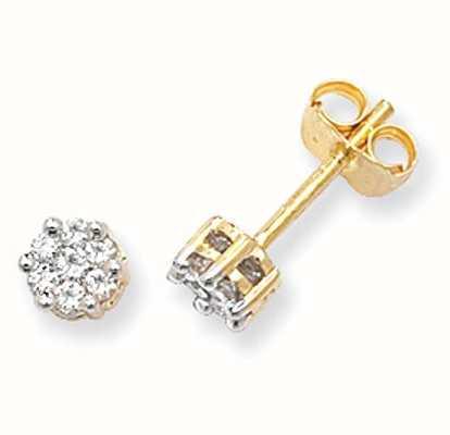 James Moore TH 9k Yellow Gold Illusion Set Diamond Stud Earrings ED111
