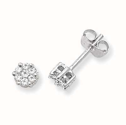 Treasure House 9k White Gold Illusion Set Diamond Stud Earrings ED111W