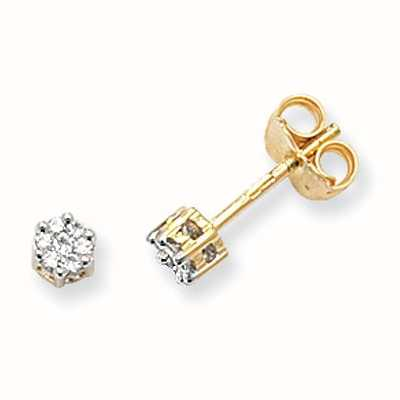 Treasure House 9k Yellow Gold Illusion Set Diamond Stud Earrings ED112