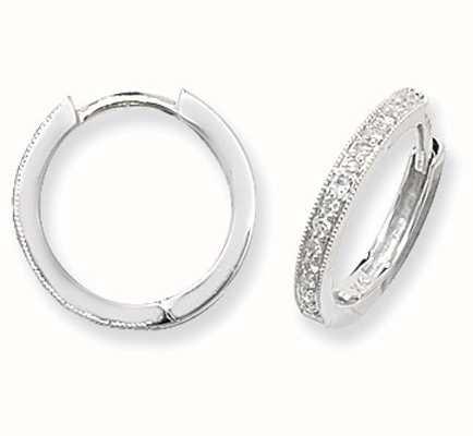 James Moore TH 9k White Gold Diamond Set Hoop Earrings ED115W