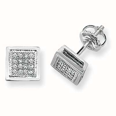 Treasure House 9k White Gold Diamond Set Square Stud Earrings ED123W