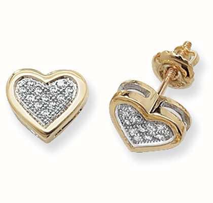 Treasure House 9k Yellow Gold Diamond Set Heart Stud Earrings ED125