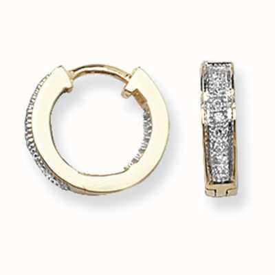 James Moore TH 9k Yellow Gold Diamond Set Huggies Hoop Earrings ED134