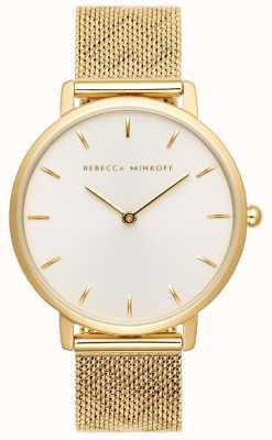 Rebecca Minkoff Womens Major | Gold Plated Mesh Bracelet | SilverWhite Dial 2200298