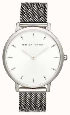 Rebecca Minkoff Womens Major | Stainless Steel Mesh Bracelet | Silver Dial | 2200297