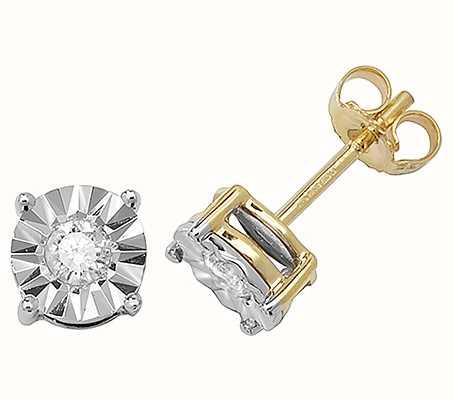 James Moore TH 9k Yellow Gold Diamond Stud Earrings ED146