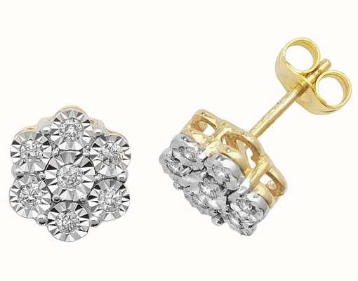 James Moore TH 9k Yellow Gold Illusion Set Diamond Flower Stud Earrings ED161
