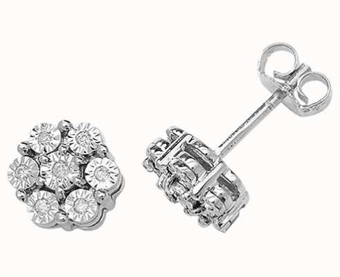 Treasure House 9k White Gold Illusion Set Diamond Flower Stud Earrings ED162W