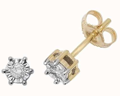 Treasure House 9k Yellow Gold Illusion Set Diamond Stud Earrings ED166