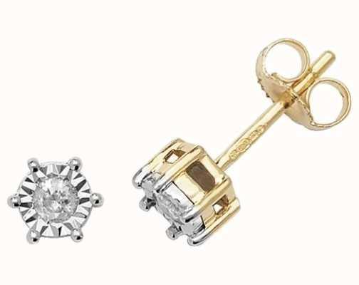 Treasure House 9k Yellow Gold Illusion Set Diamond Stud Earrings ED167