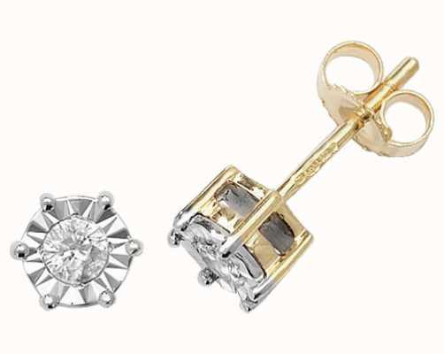 Treasure House 9k Yellow Gold Illusion Set Diamond Stud Earrings ED168