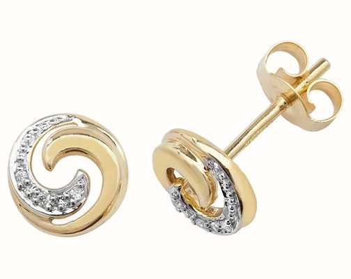 Treasure House 9k Yellow Gold Diamond Swirl Stud Earrings ED173