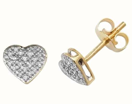 Treasure House 9k Yellow Gold Diamond Heart Stud Earrings ED174