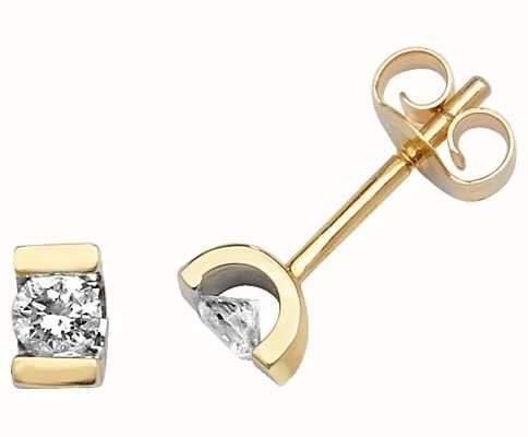 Treasure House 9k Yellow Gold Single Stone Diamond Stud Earrings ED180