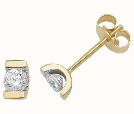Treasure House 9k Yellow Gold Single Stone Diamond Stud Earrings ED181
