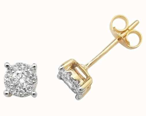 Treasure House 9k Yellow Gold Diamond Brilliant Stud Earrings ED184