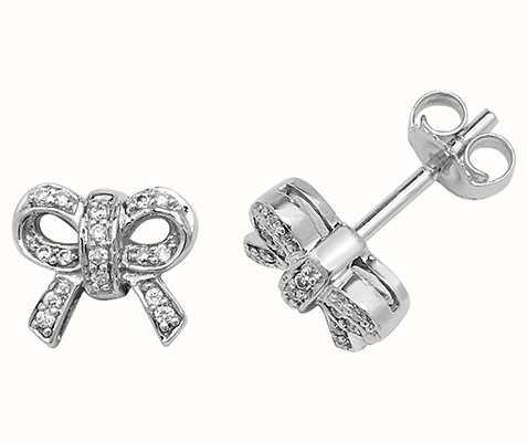 Treasure House 9k White Gold Diamond Bow Stud Earrings ED192W