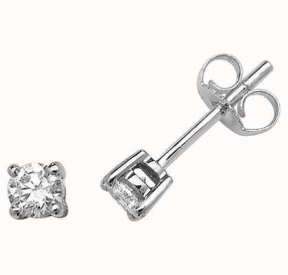 James Moore TH 9k White Gold Diamond Stud Earrings ED196W