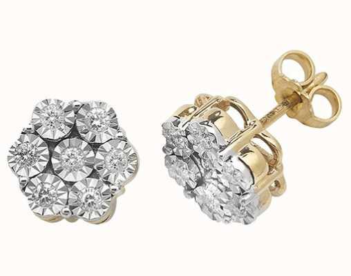 Treasure House 9k Yellow Gold Illusion Set Diamond Cluster Stud Earrings ED308